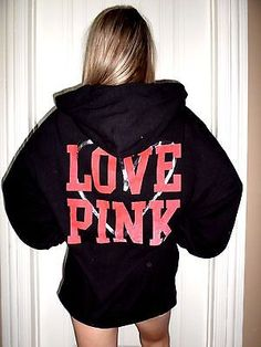 LARGE XL Victoria's Secret PINK Long sleeve hoodie MARLEd blue ...