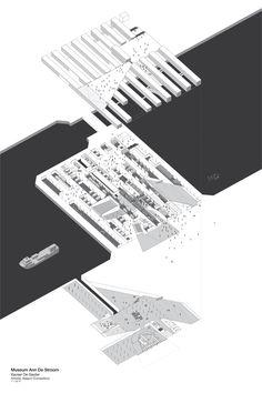 architecture diagram presentation isometric _ Museum Ann de Stroom by Xaveer de Geyter // Sam Brisendine