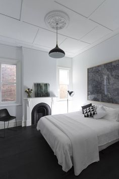 Australian architecture firm Studioplusthree has transformed a Federation-style cottage in Sydney, into an open, light-filled home for two musicians. House, Interior, Home, Federal Style House, Weatherboard House, House Interior, White Interior Design, Edwardian House, Bedroom Light Fittings