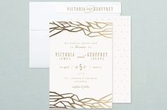"""""""Organic"""" - Abstract, Modern Foil-pressed Wedding Invitations in Night by Lori Wemple."""