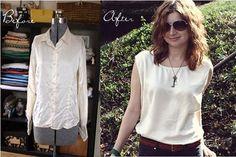 Silk shirt into.better silk shirt refashion at Yes and Yes! Shirt Refashion, Diy Shirt, Thrift Store Refashion, Diy Clothing, Sewing Clothes, Sewing Shirts, Umgestaltete Shirts, Mode Crochet, Diy Fashion
