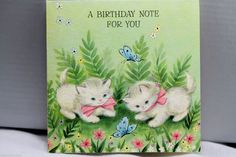 1960s Birthday Greeting Card Vintage Kitty Cat Kitten White Fluffy Butterflies