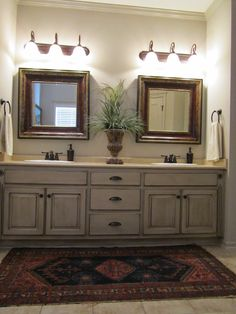 Love these painted bathroom cabinets and the lights. What I would like to paint all the cabinets when i get a home Source by The post Love these painted bathroom cabinets and the lights. What I would like to paint & appeared first on Rosa Home Decor. Upstairs Bathrooms, Small Bathroom, Master Bathroom, Bathroom Storage, Bathroom Ideas, Bathroom Sinks, Bathroom With Double Vanity, Distressed Bathroom Vanity, Remodled Bathrooms