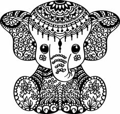 Mandala Elephant, Elephant Art, Zentangle Elephant, Doodle Art Drawing, Mandala Drawing, Free Adult Coloring Pages, Mandala Coloring Pages, Mandala Art Lesson, Elephant Coloring Page