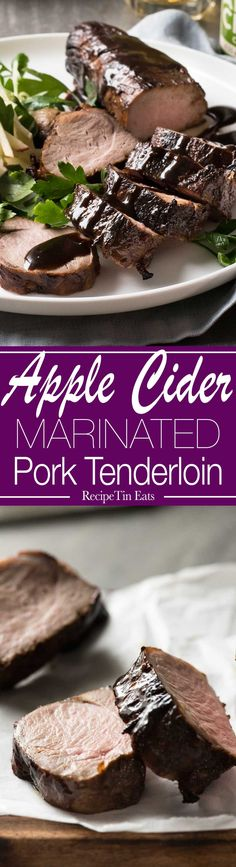 Apple Cider Marinated Pork Tenderloin | This is amazing! The apple cider really tenderises the pork!! LOVE the glaze