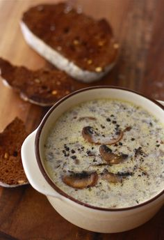I LOVE homemade mushroom soup! Homemade mushroom soup recipe by Season with Spice Think Food, I Love Food, Good Food, Yummy Food, Tasty, Homemade Mushroom Soup, Mushroom Soup Recipes, Homemade Soup, Mushroom Food