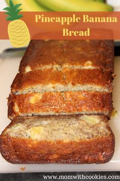 banana bread brownies This banana and pineapple bread is the perfect snack, breakfast, or even a light dessert! It's easy to make, but oh-so-tasty. Pineapple Banana Bread Recipe, Pineapple Recipes, Banana Bread Recipes, Diabetic Banana Bread, Fruit Bread, Dessert Bread, Delicious Desserts, Dessert Recipes, Yummy Food