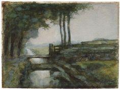 Piet Mondriaan  Sloot met brug  1894-1895  hoogte 71,0 cm breedte 101,0 cm  waterverf, zwart krijt en dekwit op papier