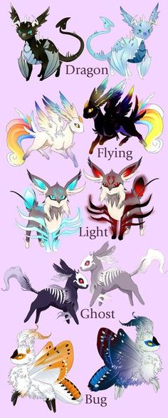 Fakemon: Blue's Eeeveelutions (with Shiny) by Blue-Hearts.deviantart.com on @DeviantArt