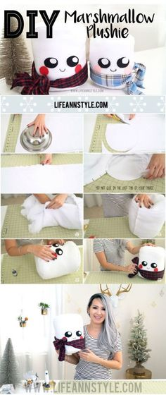 No Sew Super Cute DIY Marshmallow Plushie! Learn how to make them!!! Makes adorable Christmas gifts for the kids. More