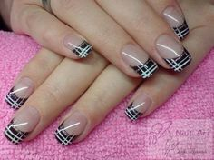 Beautiful nail art designs that are just too cute to resist. It's time to try out something new with your nail art. French Nail Art, French Tip Nails, Nail Tip Designs, Plaid Nails, Modern Nails, Pink Nail Art, Hot Nails, Fabulous Nails, Stylish Nails