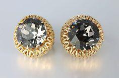 Chunky #Vendome filigree #Earrings, Smokey Crystal 1960s jewelry clip on