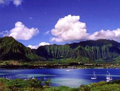 Kaneohe Bay with Hawaii's mountains in the background.
