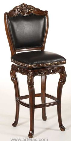 Augustus Swivel BarCounter Stool in Top Grain Leather Ornate and inspired by the classical