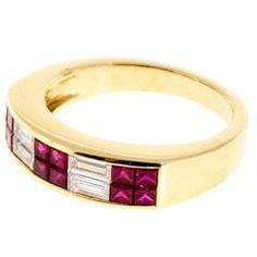 Red Ruby Baguette Diamond Gold Band Ring