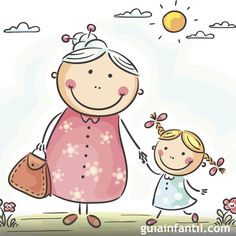 Illustration of Little girl and her granny on a walk vector art, clipart and stock vectors. Art Drawings For Kids, Drawing For Kids, Easy Drawings, Art For Kids, Envelope Art, Cartoon Sketches, Stick Figures, Mail Art, Cute Illustration