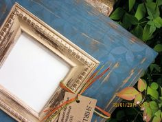 adb93ee337f7 4x4 Distressed Picture Frame Victorian Blue   by ShirleyFrames