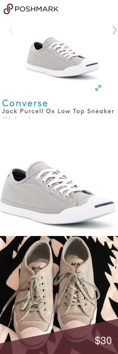 🎉FLASH SALE🎉Converse Jack Purcell Grey Sneakers Only worn once!! 🎉🎉Sizing: True to size. Women's: 6.5 Color: Grey  - Round cap toe - Canvas construction - Topstitched detail - Grommet vent accent - Lace-up closure - Lightly cushioned insole - Grip sole - Imported Converse Shoes Sneakers