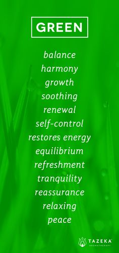 This image lists down the common emotions/values associated with the colour green. These traits/adjectives include: growth, tranquillity and energy.