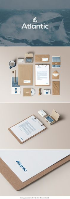 Atlantic logo corporate branding visual graphic identity kraft paper design business card label packaging box white print