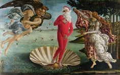 Philadelphia-based artist Ed Wheeler has dozens of such adaptations with Father Christmas carefully placed on canvases by Botticelli, Monet, Coolidge and Caravaggio. Caravaggio, Christmas Art, Christmas Humor, Father Christmas, Christmas Images, The Birth Of Venus, Famous Artwork, Classic Paintings, Classic Artwork