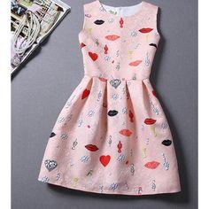 Pink Sleeveless Pattern Printed Dress