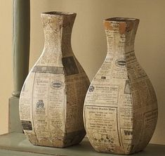 Decorative Bottles :     Set of 2 Newspaper Vases from Through the Country Door    -Read More –
