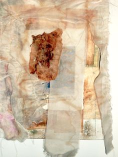 """""""Shroud"""" teabags and mixed media on canvas - 2009 by Pat Benkendorff."""