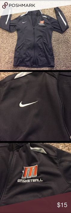 Nike jacket Lightly worn. Excellent condition! Has my schools logo on it. Basketball jacket. Size medium. Feel free to ask questions! Can bundle with the matching sweat pants for $30.❤️ Nike Tops Tees - Long Sleeve