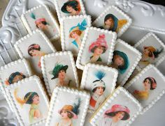 Downton Abbey Tea Party Cookies I could get various pictures of Victorian women printed on edible sheets to put on top of cup cakes   WE could place all cup cakes to shape the letters 8 and 0