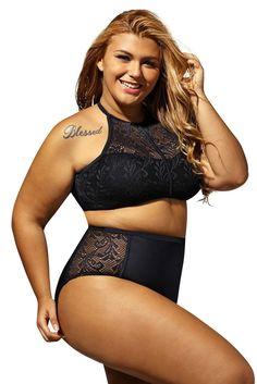 e82188c1b0b06 Black Patterned Mesh Big n Bold Plus Size Swimwear