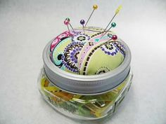 Suzanne's Crazy For Collars: Canning Jar Pincushion Tutorial