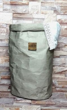 WASHABLE PAPER LAUNDRY Bag Large Round Gray White Natural Black Hamper Personalized Leather Label Storage Organizer Basket Handmade Gift
