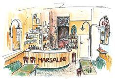 Il bancone del Marsalino a Bologna, Ghetto ebraico, illustrato da @malacsam