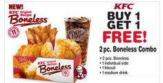 KFC: *HOT* Buy 1 Get 1 FREE 2 pc. Combo Meal Coupon (FREE Side, Biscuit, Drink and 2 Chicken pieces!) - Raining Hot Coupons