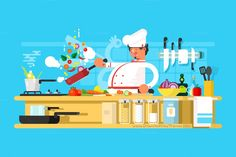 Chef prepares in kitchen. #Chefs #Food #cooking and #vegetable prepare #Vector illustration download now➩ https://creativemarket.com/Kit8.net/715952-Chef-prepares-in-kitchen?u=Datasata