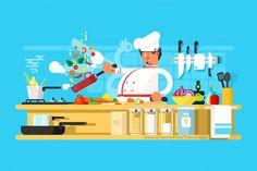 Chef prepares in kitchen. #Chefs #Food #cooking and #vegetable prepare #Vector illustration download now➩ https://creativemarket.com/Kit8.net/715952-Chef-prepares-in-kitchen?u=Datasata