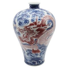 Legends of Asia Asian Traditional Chinese Blue and White Plum Vase with Copper Red Dragon
