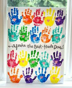 How awesome is this handprint art! It would make a great end of year gift for a teacher, I'm going to have to suggest it to our class mums! Teacher Gifts From Class, Teacher Birthday Gifts, Best Teacher Gifts, Presents For Teachers, Teacher Cards, Teacher Appreciation Week, Class Teacher, Teacher Retirement Gifts, Preschool Teacher Gifts