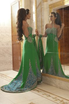 WF06 - green reception gown, made in silk with blue patchwork and diamante embroidery