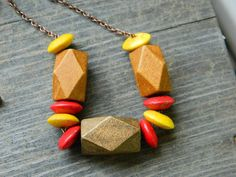Boho Tribal Necklace Geometric Wood Necklace Jewelry by gabeadz