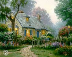 """Foxglove Cottage"" ~ Thomas Kinkade"