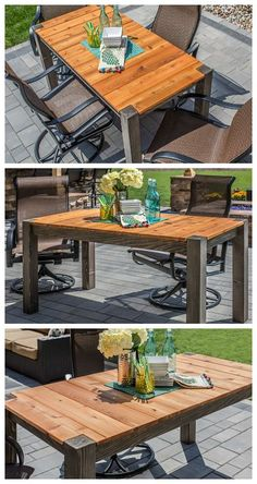 DIY Cedar Patio Table: Here's a great way to dine in style outdoors. This patio table offers space for up to six people, but doesn't take up much space. It's made from cedar so it looks great, and it will hold up well to life outdoors. Build one for yourself, and you'll have it for years of outdoor meals and entertaining. Find the FREE project plan and many others at buildsomething.com