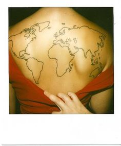 This is the tattoo Matt wants on his back. He then wants to color in all of the countries he visits. Of course, his back is much larger than this petite ladies. ;)