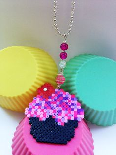 Pink and purple cupcake necklace with perler beads by CraftyAndContrary
