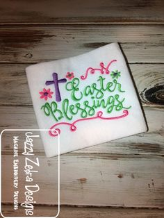 Easter Blessings Embroidery design Jazzy Zebra