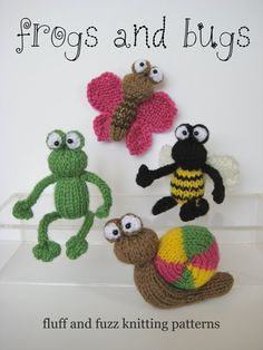 Frog and Bugs little toy knitting patterns by fluffandfuzz