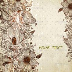 Elegante fondo floral, grabado de flores de diseño vintage retro — Ilustración…