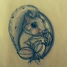 Squirrel tattoo - like the compact style with the plant; maybe with solid lines/no sketch lines