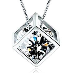 Sephla 14k White Gold Plate Sterling Silver 0.5ct Cubic Zirconia Diamond Cube Pendant Necklace For Women